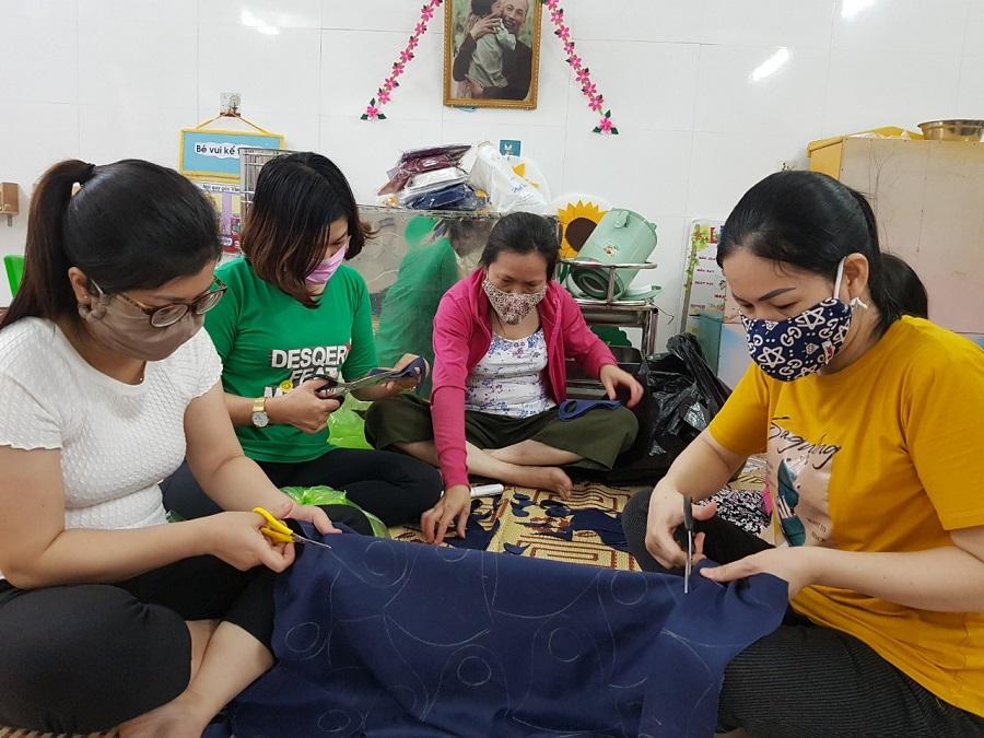 Qua 6 ngày may, Trường mầm non An Đồng 1 đã trao gần 2.800 khẩu trang