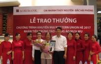 Agribank chi nhánh Thủy Nguyên – Bắc Hải Phòng: Trao quà tặng khách hàng trúng thưởng
