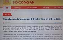 Thông báo của Cơ quan An ninh điều tra - Công an tỉnh Hà Giang