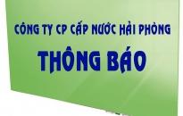CÔNG TY CP CẤP NƯỚC HẢI PHÒNG THÔNG BÁO