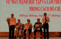 Quận ủy Hồng Bàng: Trao Huy hiệu Đảng đợt 19/5 và sơ kết 3 năm thực hiện Chỉ thị 05 của Bộ Chính trị