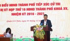Đồng chí Lê Trung Kiên – Trưởng ban Ban Quản lý Khu kinh tế Hải Phòng tiếp xúc cử tri tại Quận ủy Lê Chân