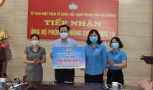 Ủy ban MTTQ Việt Nam thành phố Hải Phòng nhận kinh phí ủng hộ từ các cơ quan
